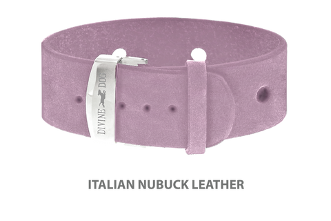 Divine Dog Bracelet, Wide, Nubuck Violet-Silver 1 inch Wide (24mm), Adjustable Length