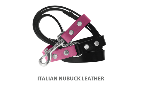 Divine Dog Leash, Nubuck Perfect Pink-Silver 3/4 inch Wide (20mm), 5 Feet Long