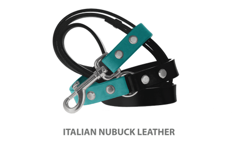 Divine Dog Leash, Nubuck Turquoise-Silver 3/4 inch Wide (20mm), 5 Feet Long