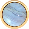 BLUE LACE AGATE Gemstone, Solutions, Encourgement, Uplifting, Large Gold-Plated Stud