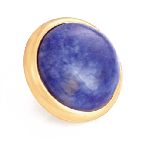 SODALITE Gemstone, Logic, Rationality, Truth, Large Gold-Plated Stud