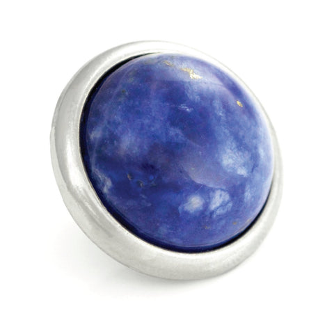 SODALITE Gemstone, Logic, Rationality, Truth, Large Silver-Plated Stud