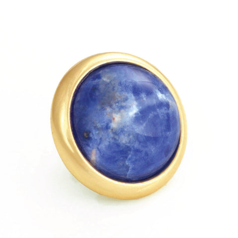 SODALITE Gemstone, Logic, Rationality, Truth, Medium Gold-Plated Stud