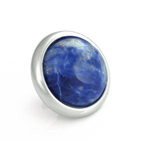 SODALITE Gemstone, Logic, Rationality, Truth, Medium Silver-Plated Stud