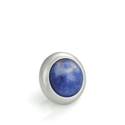 SODALITE Gemstone, Logic, Rationality, Truth, Small Silver-Plated Stud