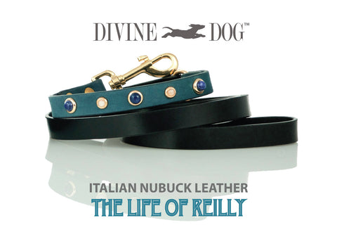 Divine Dog Blue Leather Dog Leashes with Gemstones - The Life of Reilly Collection