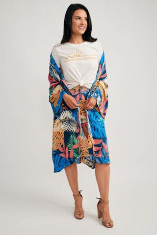 girl in a tropical kimono with heels