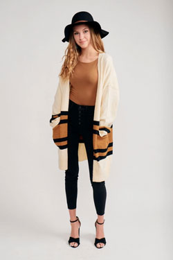 trendy oversized striped cardigan