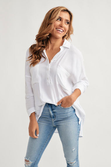 white button-down