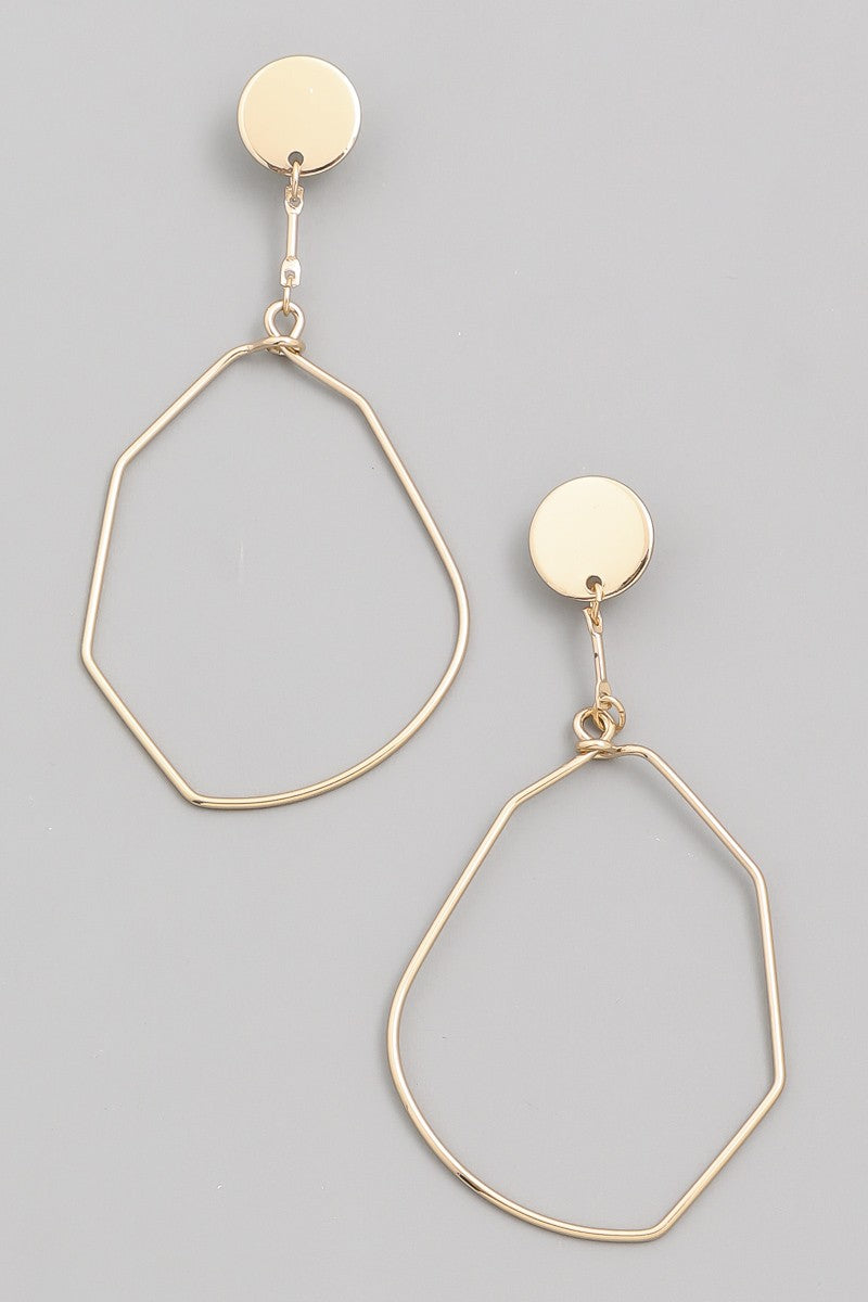 "Earrings 2.5"" Drop Gold Tone Hardware Lead & Nickel Compliant"