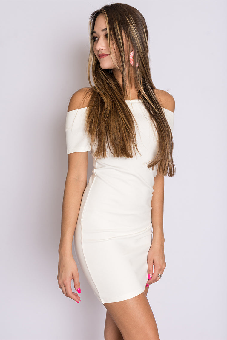 White off the shoulder body con dress