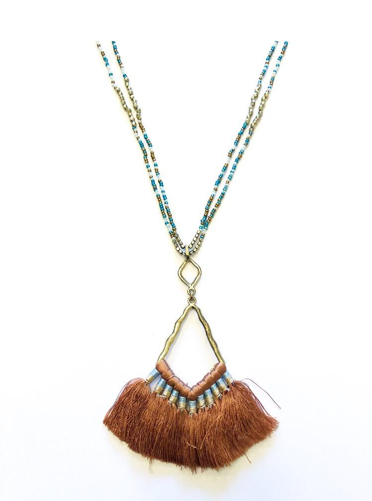Beaded Layer Fringe Necklace Brown