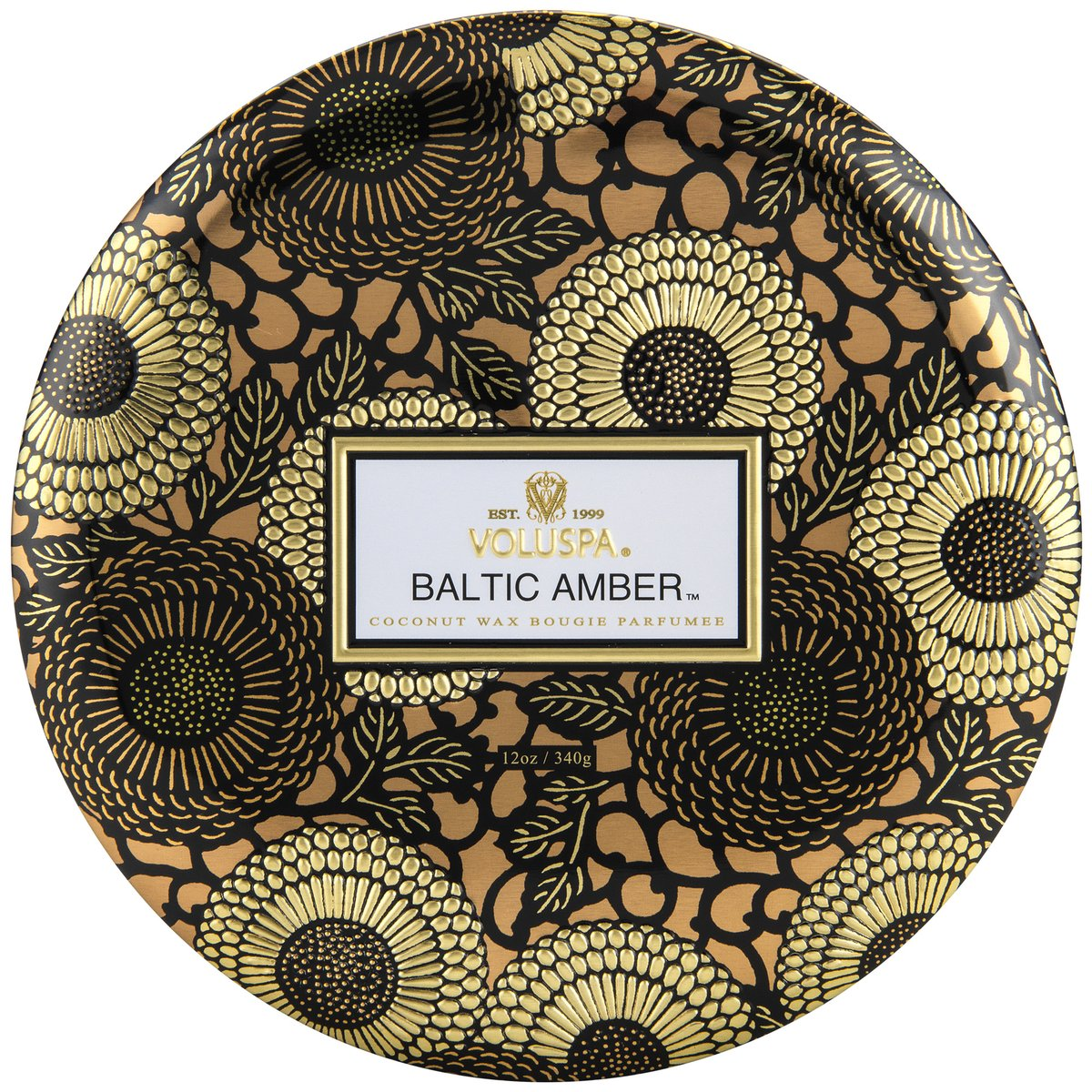 Notes of Amber Resin, Sandalwood, Vanilla Orchid. Rich jewel tones adorn this beautifully patterned metallic option, with fragrance wafting from each of its three wicks.