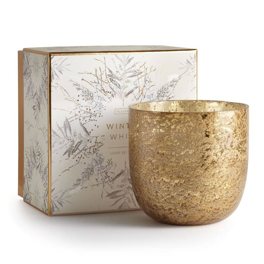 Our mercury glass candle features a unique sandblasted finish and comes packaged in an illustrated keepsake box, perfect for gift giving.