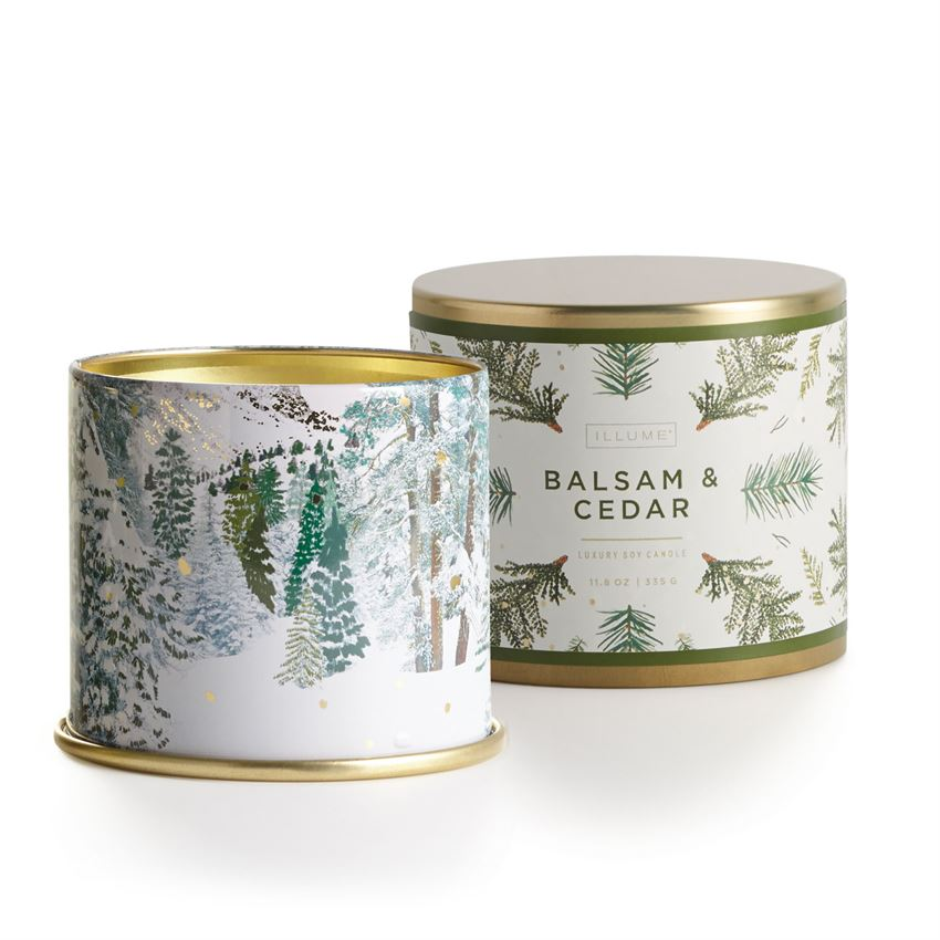 Our large tin comes covered in delicate winter illustrations to create the perfect cozy environment.