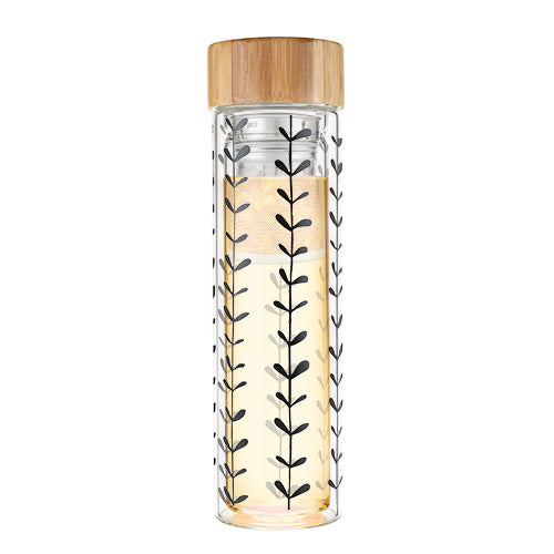 Blair Leaf Patterned Glass Travel Infuser