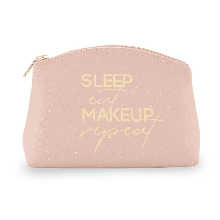 Stash your make-up in style with this lined faux blush leather makeup-up bag featuring a gold foil SLEEP EAT MAKEUP REPEAT sentiment, with speckled details and a zipper closure.