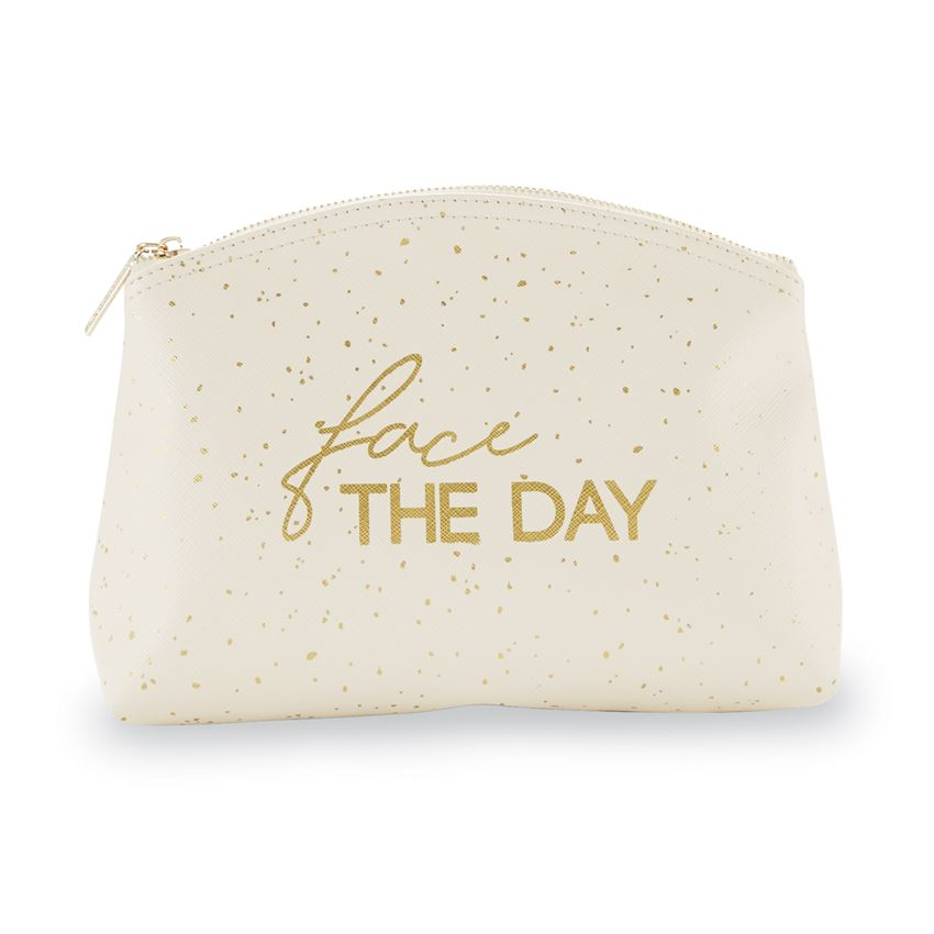 Stash your make-up in style with this lined faux cream leather makeup-up bag featuring a gold foil FACE THE DAY sentiment, with speckled details and a zipper closure.
