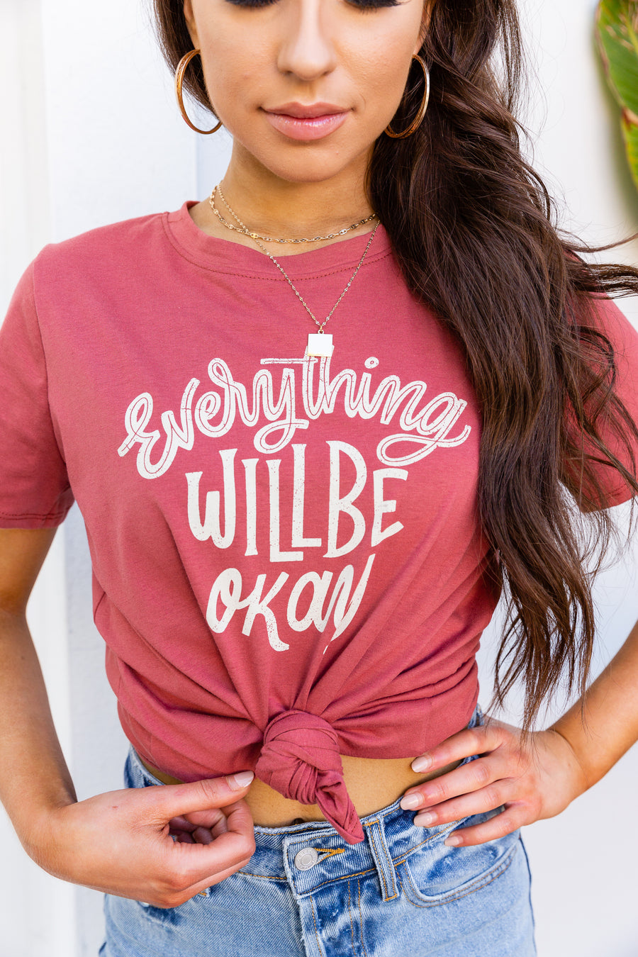 "This super cozy graphic tee has the saying ""Everything will be okay"" in fun illustrative writing on top a crew neckline, short sleeves, and a relaxed fit bodice."