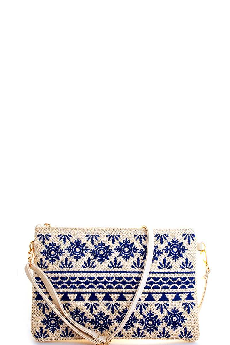 Tori Embroidered Blue Clutch