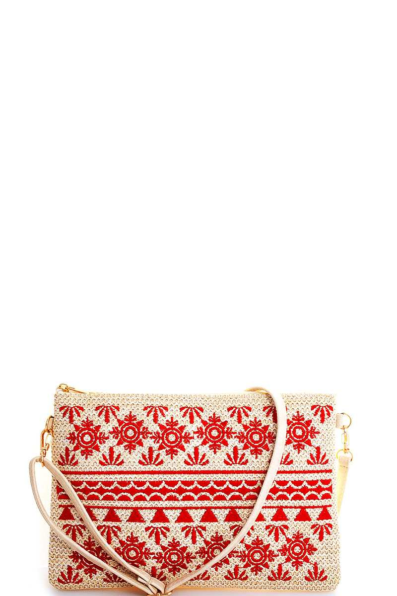 Tori Embroidered Red Clutch