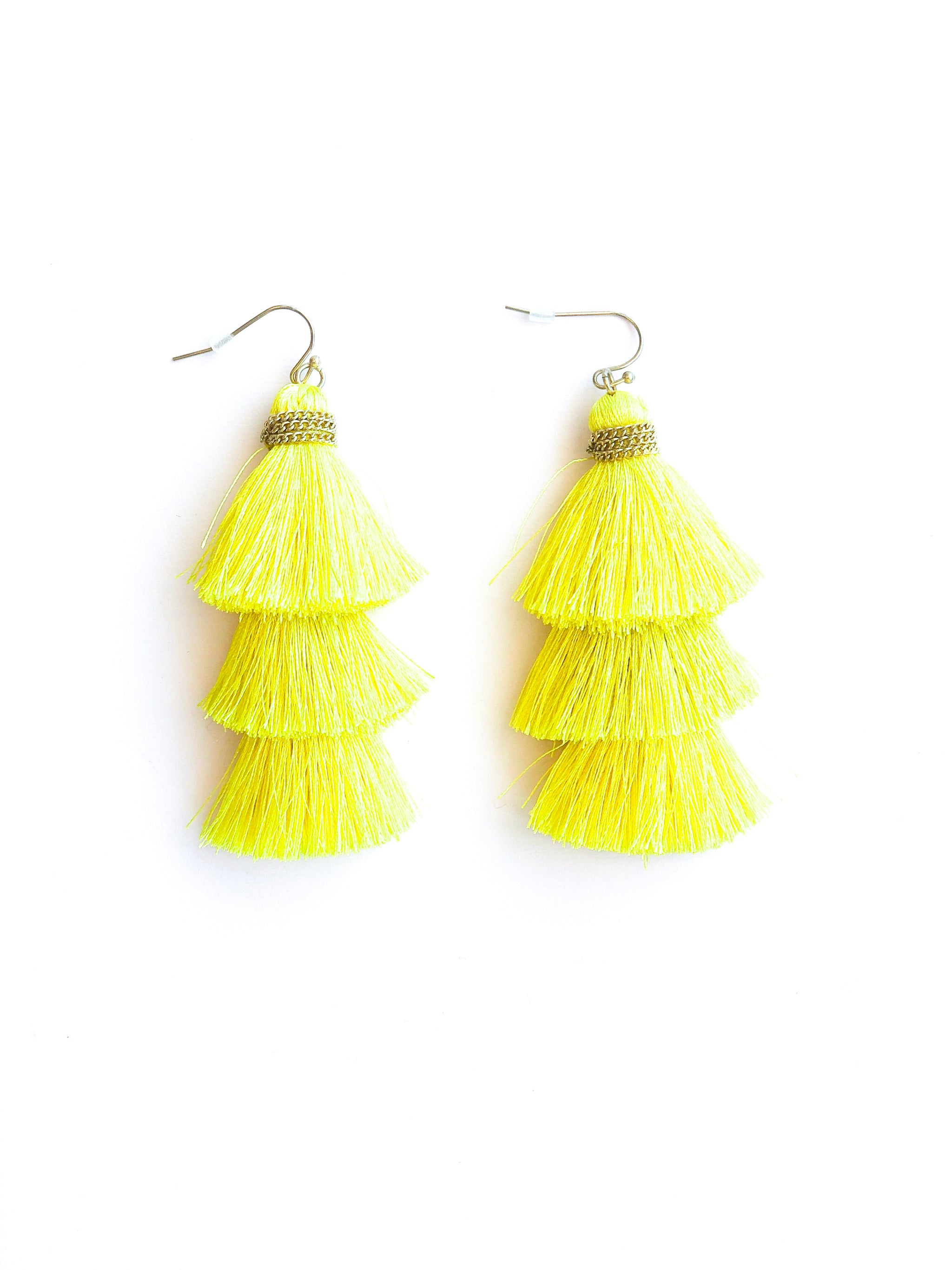 Jana Tassel Earrings Yellow
