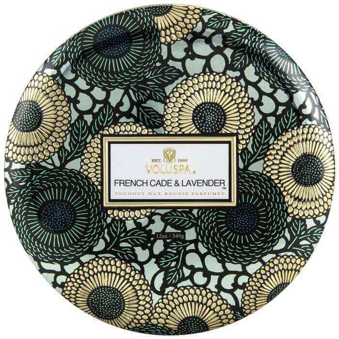Notes of French Cade Wood, Verbena, Bulgarian Lavender. Rich jewel tones adorn this beautifully patterned metallic option, with fragrance wafting from each of its three wicks.