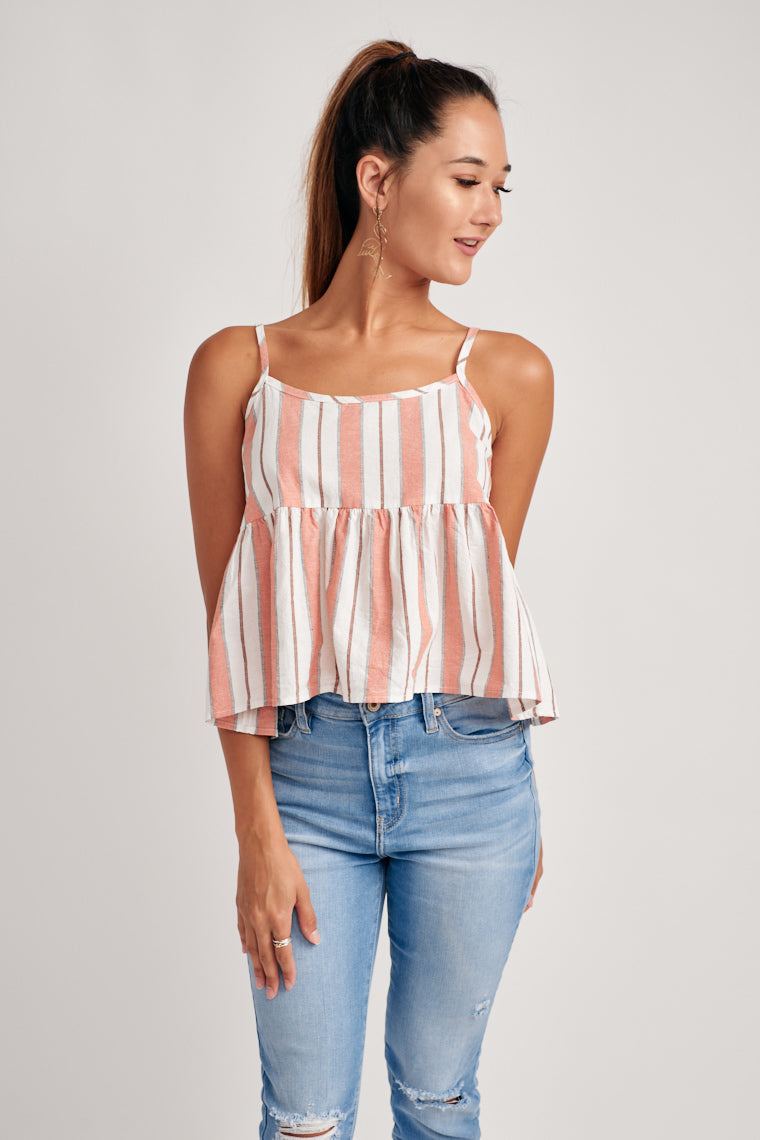 This super lightweight, breathable tank top is decorated by pink and white stripes, skinny straps, baby doll style silhouette for a relaxed, easy-going feel.
