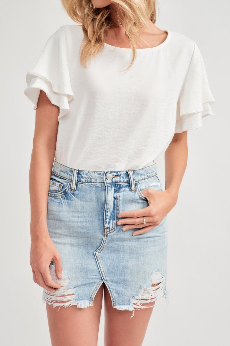 Janessa Distressed Denim Skirt
