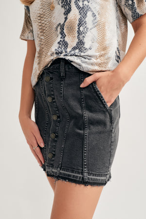 dc6ac75aabaf Aliyah Button Up Mini Skirt - {a} haley boutique
