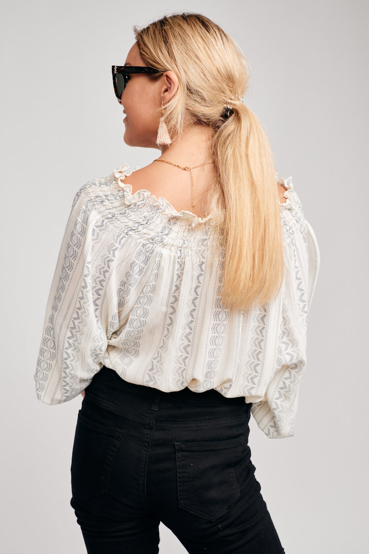 Long elastic ruffle cuff sleeves. This blouse has versatile shoulder placement, on or off the shoulder, and leads to a v-neckline and oversized bodice silhouette.