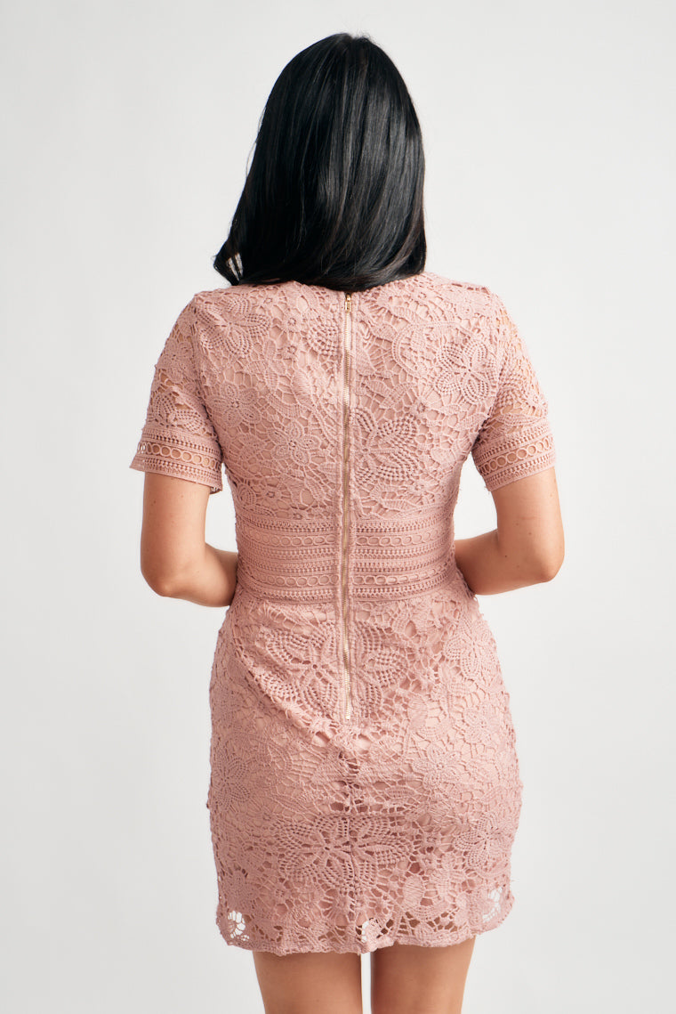 Mauve crochet lace over silky soft underlining to form a rounded neckline and short sleeves with a relaxed bodice and fitted waistline and sheath silhouette.
