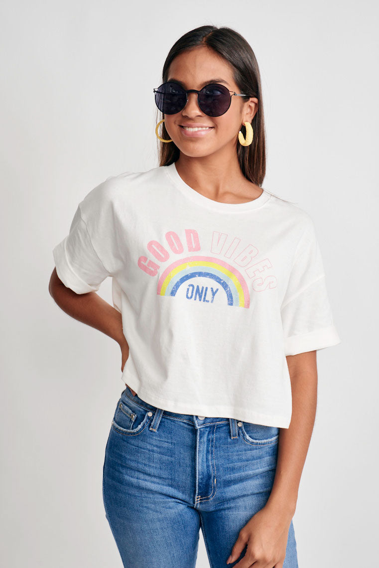Good Vibes Graphic Crop Top