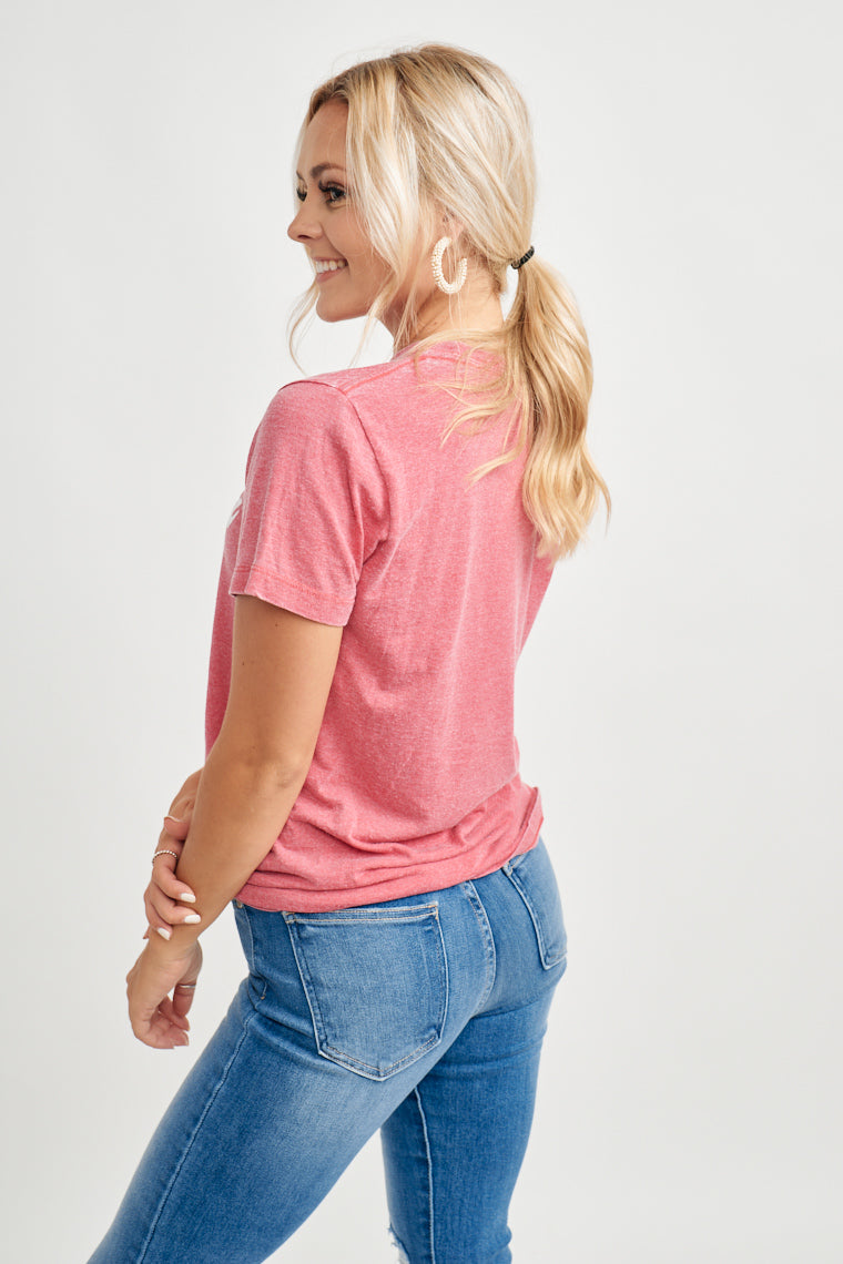 God Bless America and the I land that I love! This super soft burnout tee in red acid wash with white ink is a must have for the fourth of July!