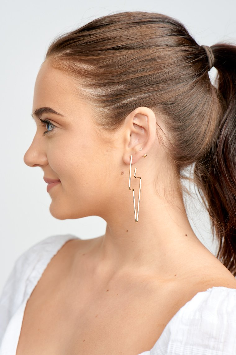 These electrifying earrings have post that leads down to a wire outline of a lightning bolt!