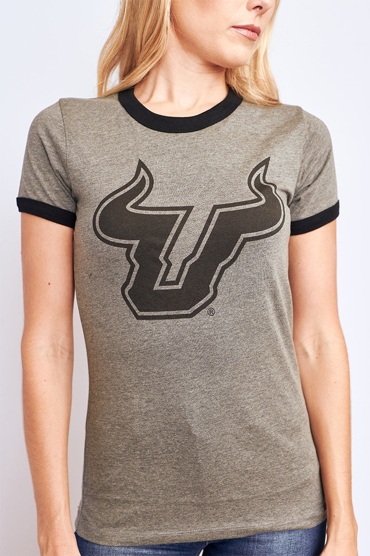 Cheer on the USF Bulls with this grey ringer tee!