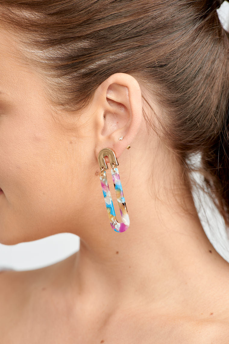 \These lightweight earrings have a post that is attached to a small inverted u-shape and leads down to an extended multicolored u-shaped drop.