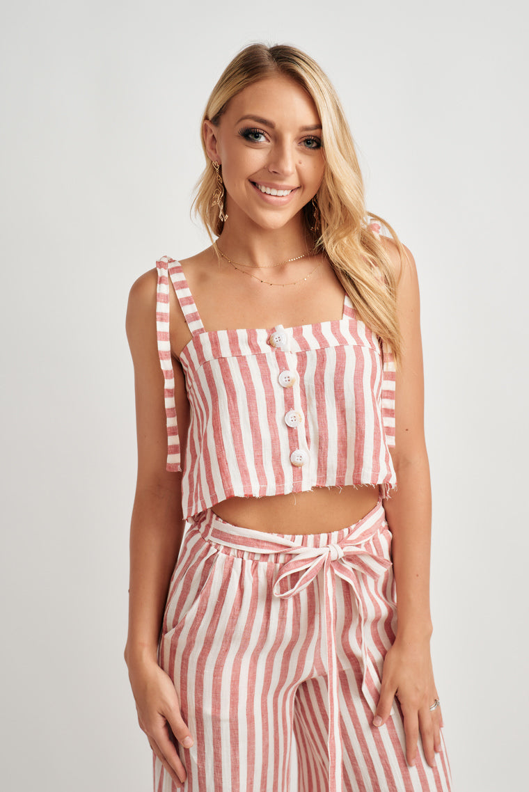 Carly Striped Crop Top