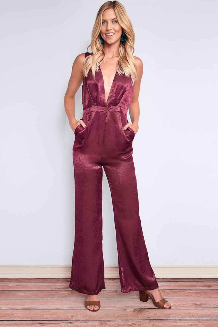 Ambrosia Satin Jumpsuit-Bottoms- Rompers & Jumpsuits - {a} Haley Boutique