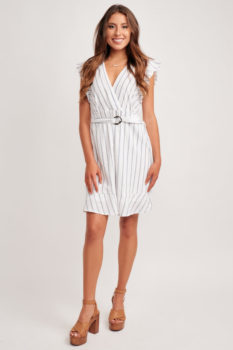 This lightweight dress has blue stripes throughout, flutter sleeves, and a surplice neckline that flows down to a ruffle hem skirt that will flatter your figure.