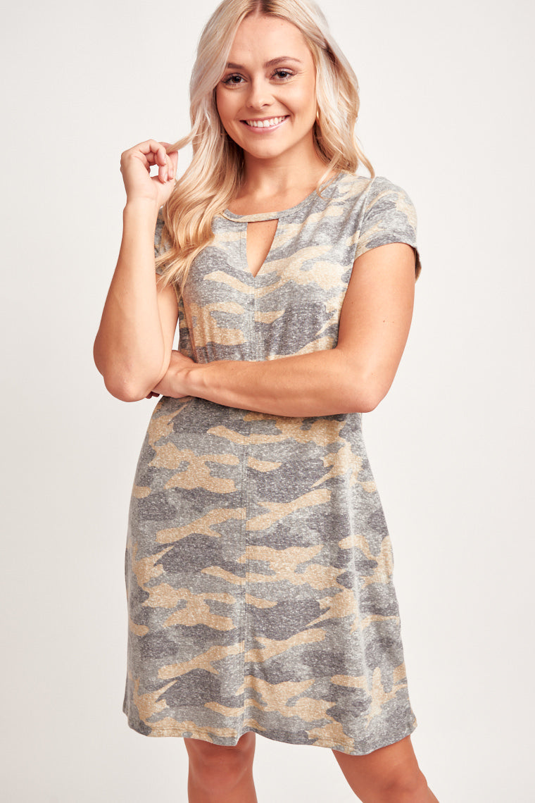 This soft dress has a heathered camo print, short sleeves attach to u-neckline with exposed v-slit detail, comfortable and relaxed bodice. They also have pockets!