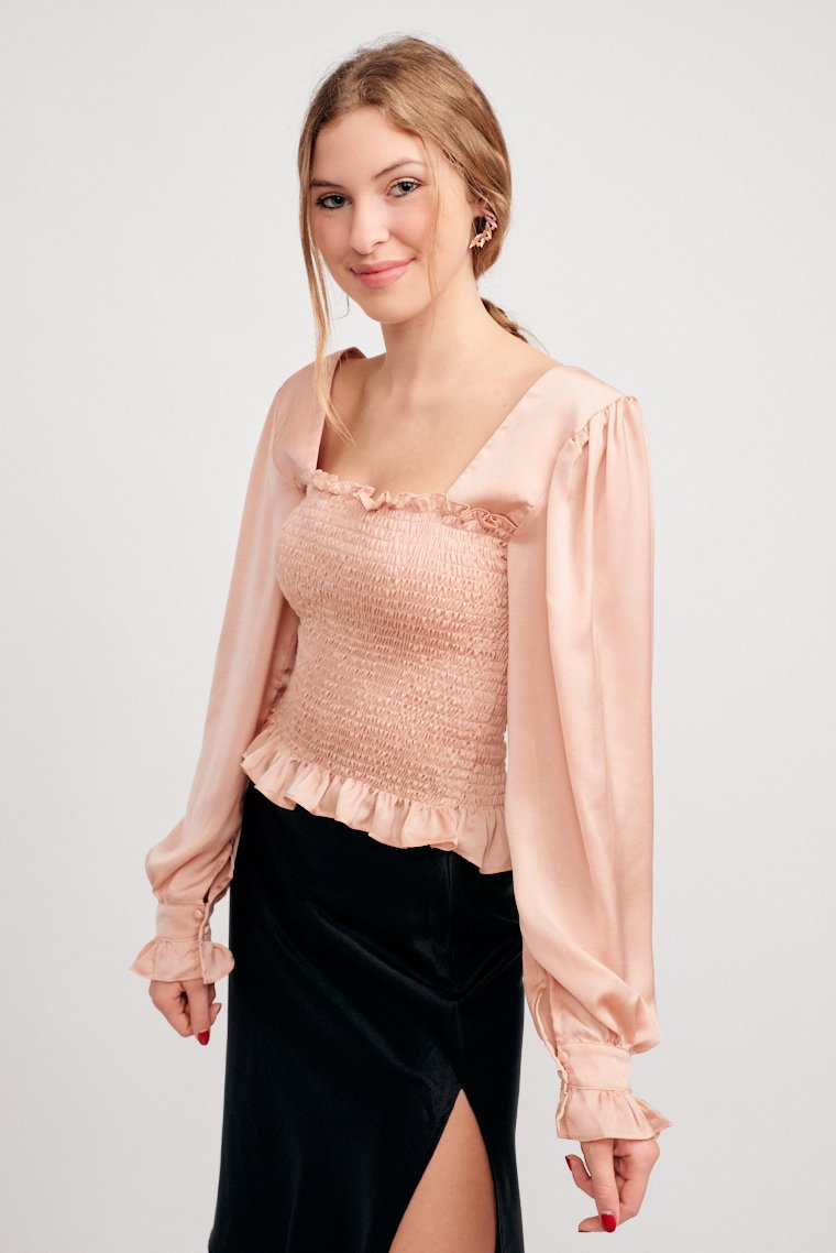 Long elastic ruffled puff sleeves that attach to a square neckline and lead to a tiered and smocked bodice that hugs the small of your waist and ends with a ruffle hem.