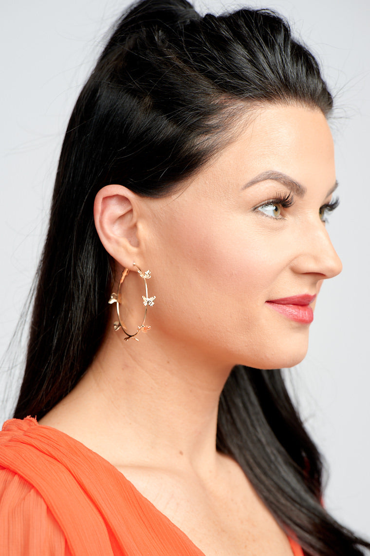 Fly to a new level with the Madison Butterfly Hoop Earrings!