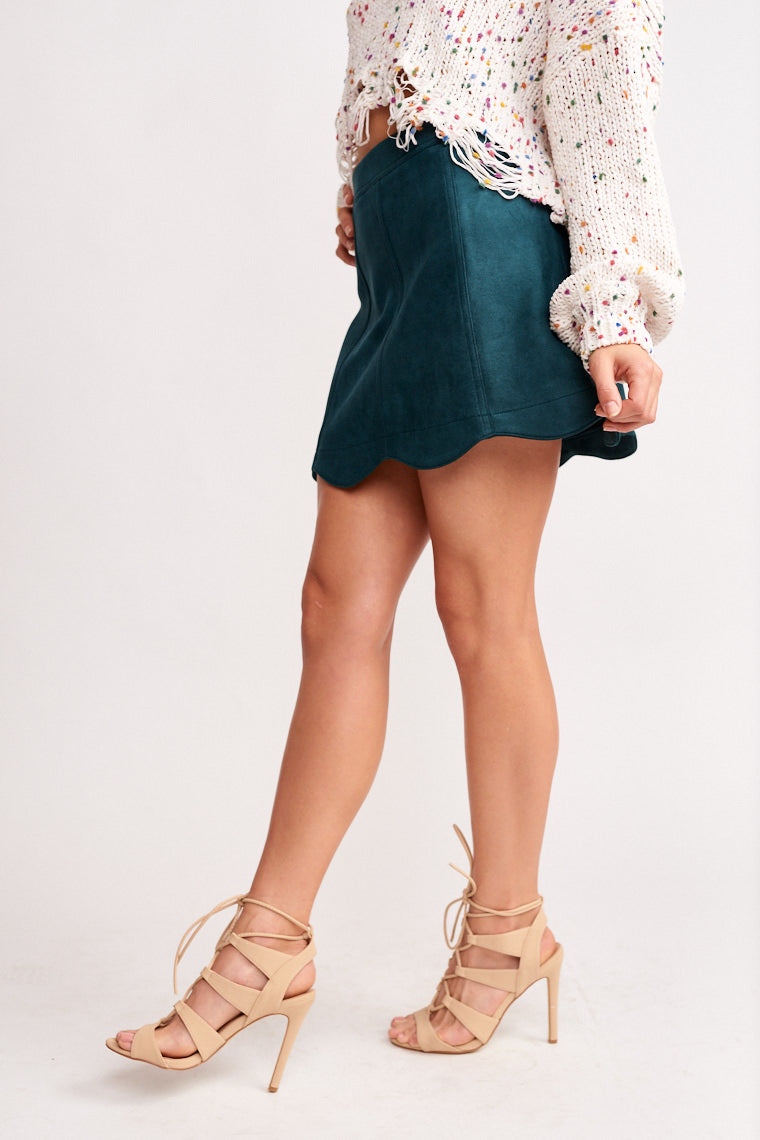 Rynna Suede Scalloped Skirt