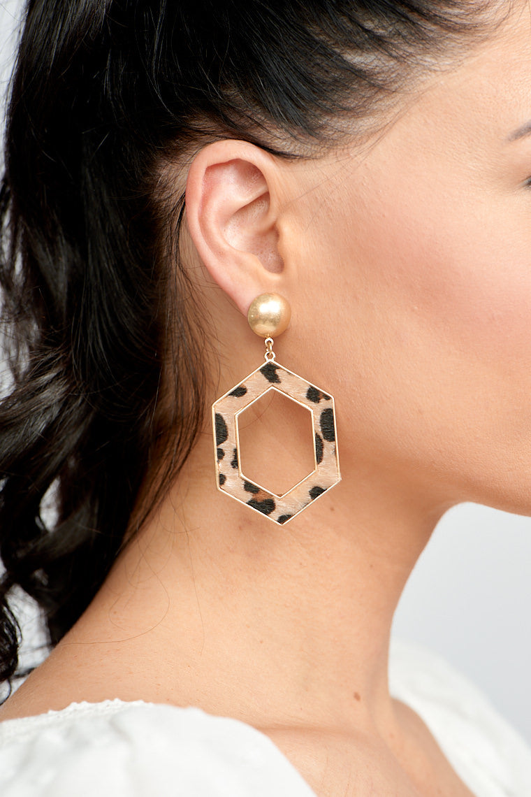 Mia Geometric Leopard Drop Earrings