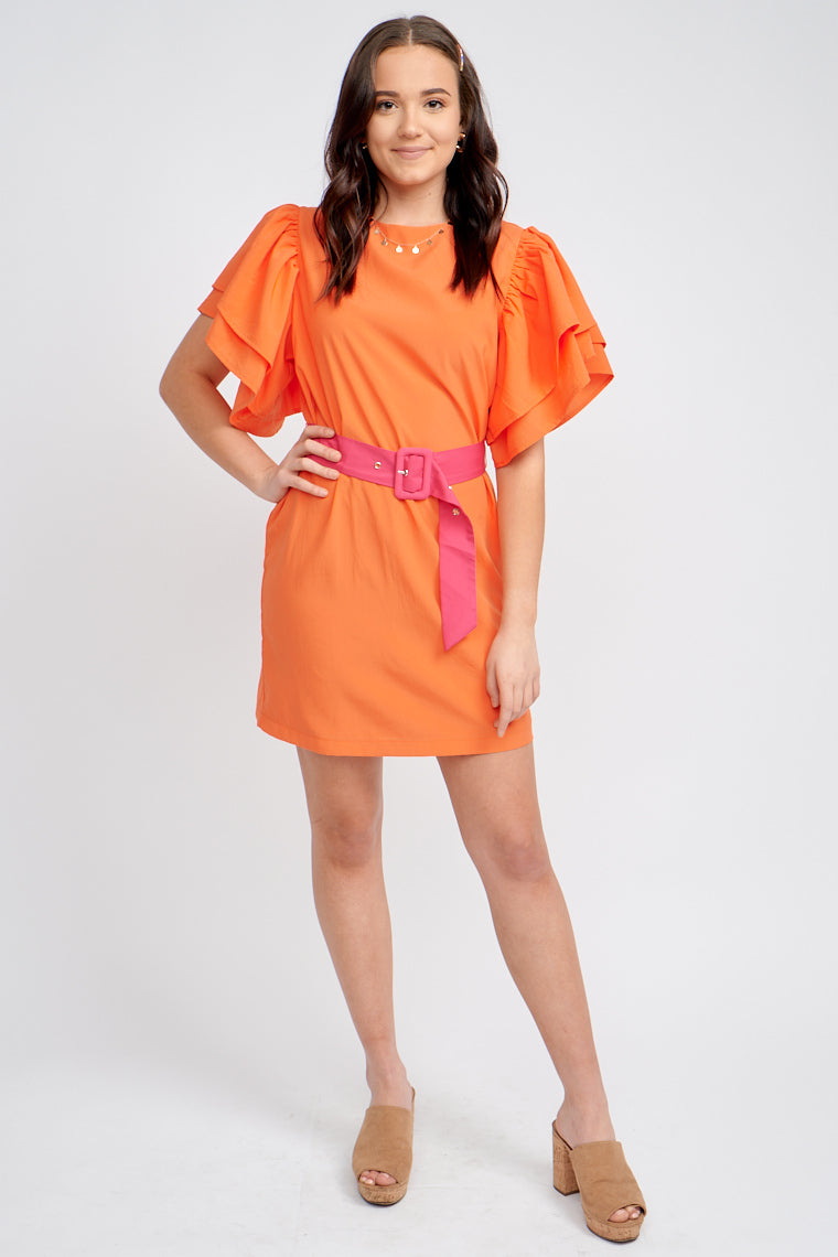 Short ruffle and layered sleeves attach to a u-neckline and lead down a relaxed shift-fit bodice and skirt silhouette that meets at the mid-thigh and a contrasting color belt.