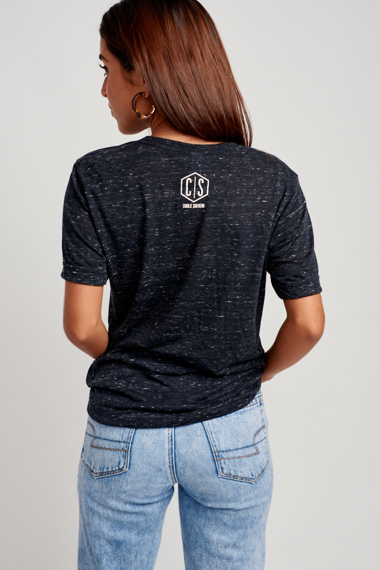 "This comfy and oversized black heather top has ""50% Spectating 50% Tailgating"" in white text on the chest. Pair with denim shorts and your game day buttons."