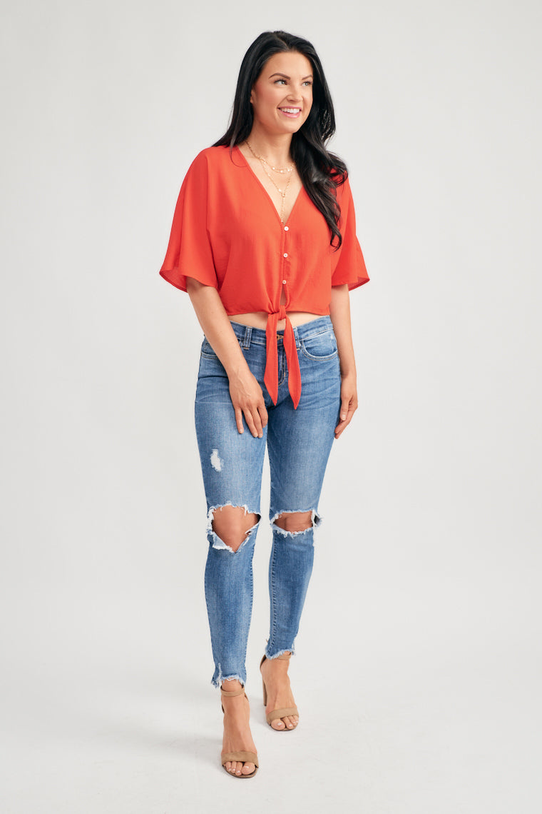 Julia Button Front Tie Top