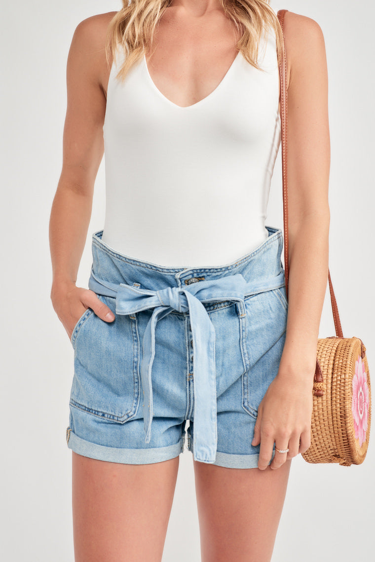 Eliza Paper Bag Denim Shorts