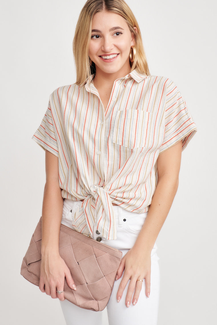 This green, blue, and red striped collared top features a relaxed button-up bodice, a front pocket, and tie-front hem. Style with jeans and sandals!